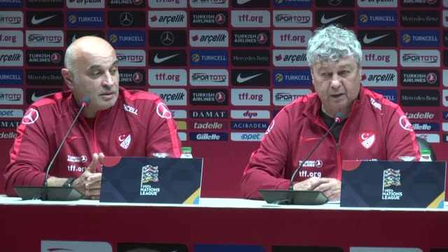 turkish national football team's coach mircea lucescu makes a speech at a news conference ahead of soccer match against russia in turkey's northern... - national team stock videos & royalty-free footage