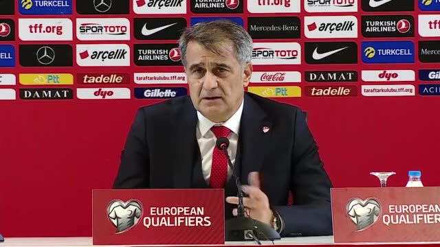 turkish national football team's head coach senol gunes attends a press conference following the uefa euro 2020 qualifying group h match against... - senol guenes stock videos and b-roll footage
