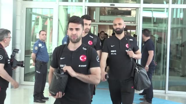 turkish national soccer team arrives konya province of central turkey on june 06 2019 for uefa euro 2020 qualification group h match against france... - konya stock videos and b-roll footage