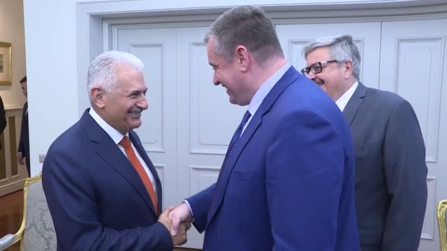 Turkish Parliament Speaker Binali Yildirim and chairman of the Russian State Duma Foreign Affairs Committee Leonid Slutsky hold a meeting at the...