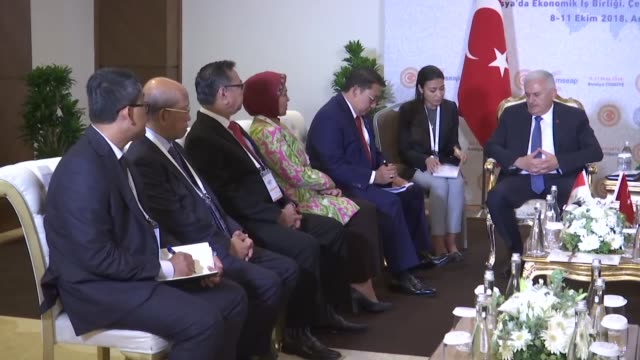 turkish parliament speaker binali yildirim and fadli zon deputy speaker of indonesia's house of representatives hold a meeting on the sidelines of... - mediterranean turkey stock videos and b-roll footage