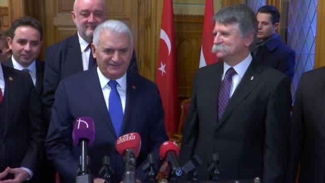turkish parliament speaker binali yildirim and his hungarian counterpart laszlo kover hold a press conference following their meeting in budapest... - osteuropäische kultur stock-videos und b-roll-filmmaterial