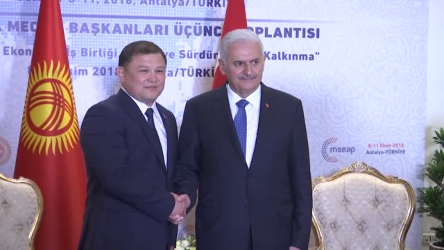 turkish parliament speaker binali yildirim and kyrgyz parliament speaker dastanbek dzhumabekov hold a meeting on the sidelines of the third meeting... - mediterranean turkey stock videos and b-roll footage