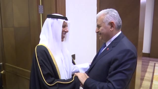 turkish parliament speaker binali yildirim and speaker of the advisory council of qatar ahmad bin abdullah al mahmoud hold a meeting on the sidelines... - mediterranean turkey stock videos and b-roll footage
