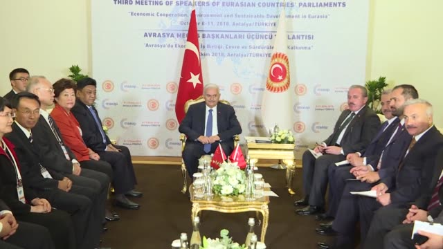 turkish parliament speaker binali yildirim and vicechairperson of the 13th national people's congress standing committee padma choling hold a meeting... - mediterranean turkey stock videos and b-roll footage