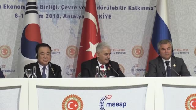 turkish parliament speaker binali yildirim speaks at a joint press conference with kazakh parliament speaker nurlan nigmatulin south korea's national... - mediterranean turkey stock videos and b-roll footage