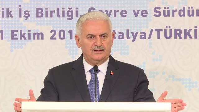 turkish parliament speaker binali yildirim speaks at a reception during the third meeting of speakers of eurasian countries' parliaments on october... - mediterranean turkey stock videos and b-roll footage