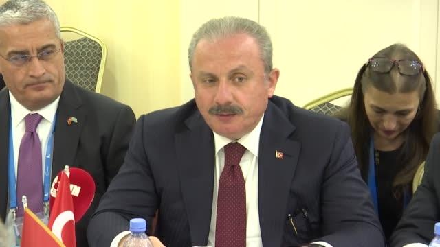 turkish parliament speaker mustafa sentop meets president of the parliament of montenegro ivan brajovic in nursultan kazakhstan on september 23 2019 - nur sultan stock videos and b-roll footage