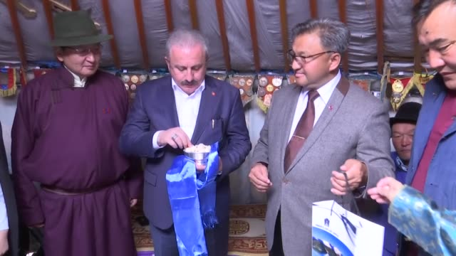 turkish parliament speaker mustafa sentop visits erdene zuu monastery in kharkhorin mongolia on july 30 2019 - independent mongolia stock videos & royalty-free footage