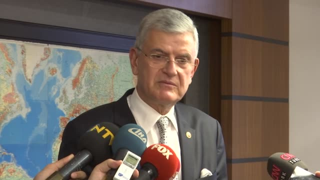 turkish parliament's foreign affairs committee head volkan bozkir speaks to the media following a meeting with palestinian ambassador to ankara, faed... - the all american rejects stock videos & royalty-free footage
