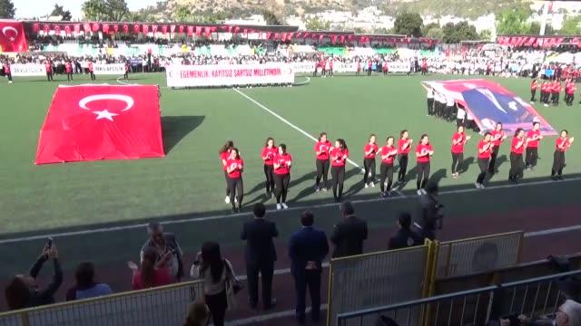 Turkish people celebrate the 93rd anniversary of Republic Day at Ataturk stadium in Mugla Turkey on October 29 2016