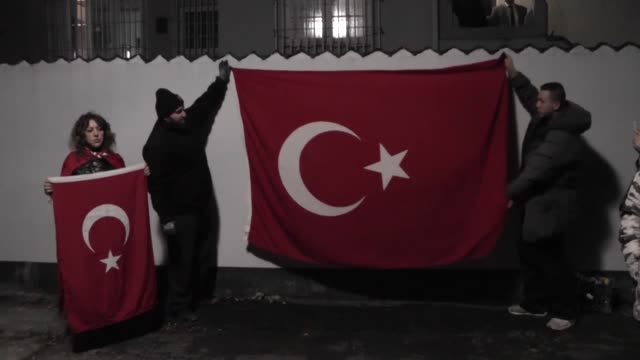 Turkish people living in Denmark protest Istanbul terror attacks in front of the Turkish Embassy in Copenhagen on December 12 2016 A car bomb...