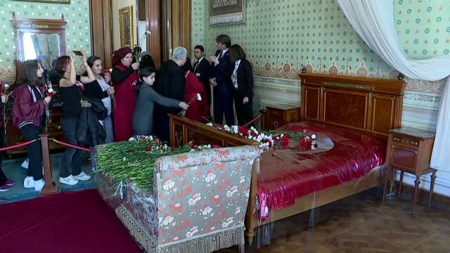 turkish people pay tribute to mustafa kemal ataturk, the founder of republic of turkey, during a ceremony in ataturk's room at dolmabahce palace,... - 1938 stock videos & royalty-free footage