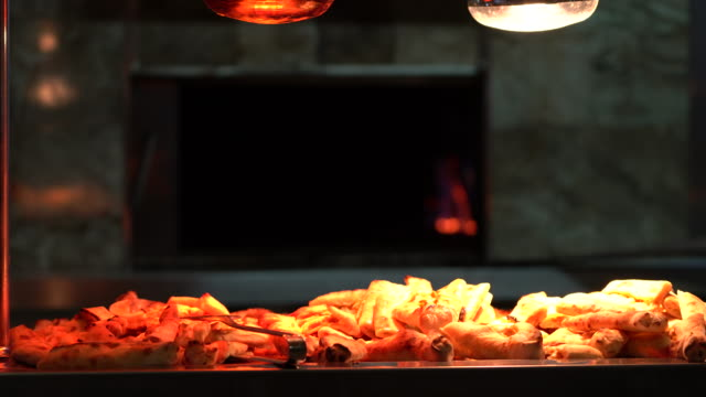 turkish pizza on the hotel buffet - slice stock videos & royalty-free footage
