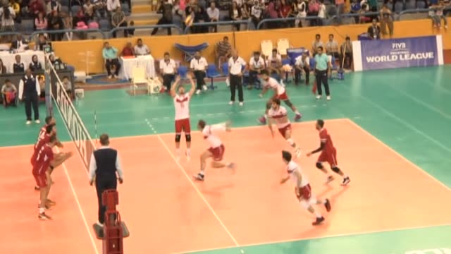 turkish players in action against egyptian players during 2016 fivb world grand prix 2nd stage e2 group match between turkey and egypt in cairo egypt... - volleyball sport stock videos & royalty-free footage