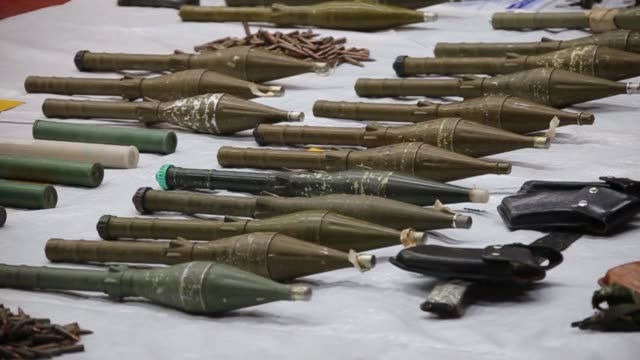 Turkish police find a large arsenal in the Baglar district in Diyarbakir in the mainly Kurdish southeast believed to belong to Kurd rebels