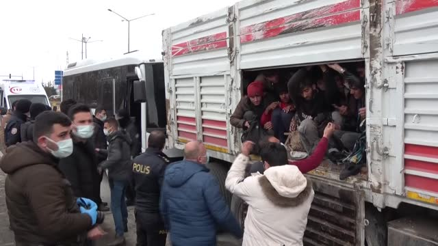 turkish police on wednesday found 114 migrants crammed into a truck in turkey's eastern van province. the truck which was involved in a traffic... - hiding stock videos & royalty-free footage