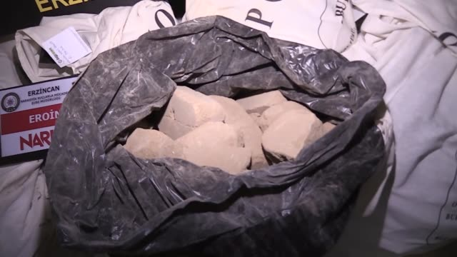 turkish police seized some 293.2 kilograms of heroin in a truck in erzincan, turkey on march 04, 2019. the erzincan governorate said in a website... - heroin stock videos & royalty-free footage