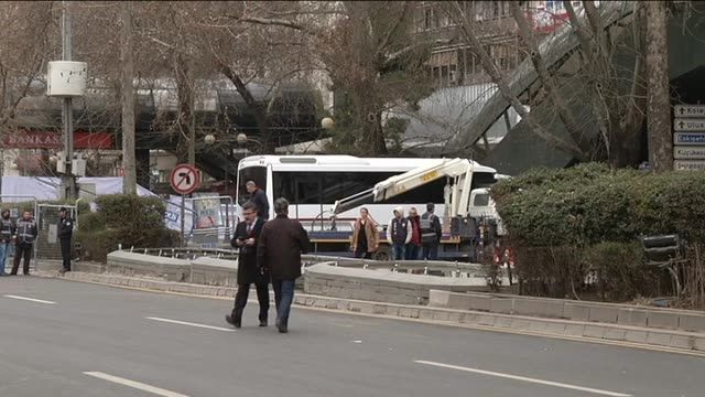 Turkish police take security measures after an explosion hit Ankara's central Kizilay neighborhood on March 14 2016 At least 37 people were killed...