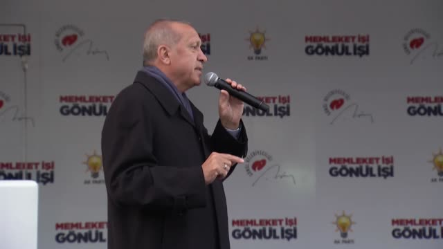 turkish president and leader of ruling justice and development party recep tayyip erdogan speaks during a campaign rally for march 31 local elections... - new zealand culture stock videos & royalty-free footage