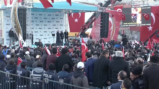 turkish president and leader of turkey's ruling justice and development party recep tayyip erdogan speaks during a campaign rally for march 31 local... - istanbul province stock videos & royalty-free footage
