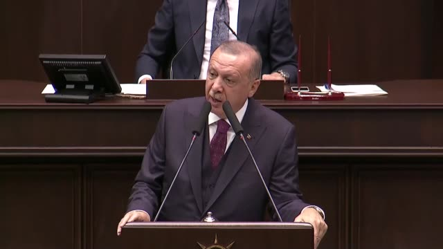 turkish president and leader of turkey's ruling justice and development party recep tayyip erdogan delivers a speech during his party's parliamentary... - refugee stock videos & royalty-free footage