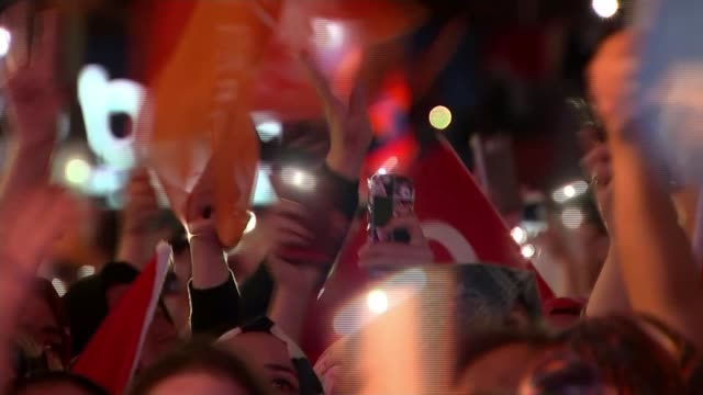 turkish president erdogan wins election by ten million votes turkey ankara erdogan supporters waving litup mobile phones and flags at rally man... - election stock videos & royalty-free footage