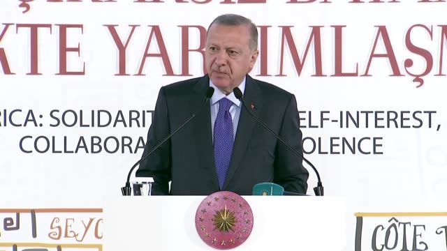 "turkish president praised saturday the high level bilateral relations between turkey and africa ""as a result of our efforts we have brought up... - level 42 stock videos & royalty-free footage"