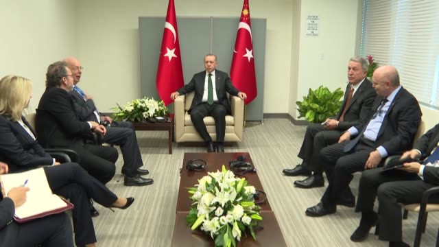 turkish president recep tayyip erdodan and klaus schwab founder and executive chairman of the world economic forum hold a meeting on the sidelines of... - hauptfirmensitz stock-videos und b-roll-filmmaterial