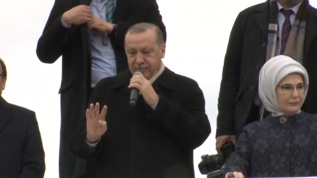 Turkish President Recep Tayyip Erdogan addresses a massive crowd in western city of Bursa before ruling Justice and Development Party's Women Branch...