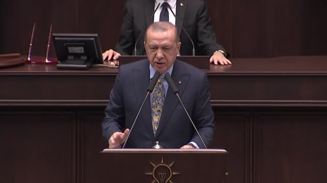 turkish president recep tayyip erdogan addresses his ruling justice and development party's parliamentary group meeting in ankara, turkey on october... - istanbul province stock videos & royalty-free footage