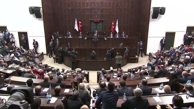 vídeos de stock, filmes e b-roll de turkish president recep tayyip erdogan addresses his ruling justice and development party's parliamentary group meeting in ankara, turkey on october... - politics and government