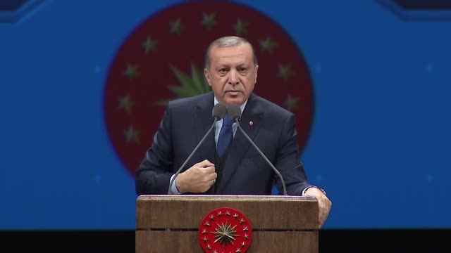 turkish president recep tayyip erdogan addresses mukhtars – locally elected heads of villages and city neighborhoods at bestepe people's culture and... - 2017 stock videos & royalty-free footage