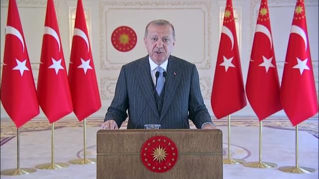 turkish president recep tayyip erdogan addresses the 12th international conference on islamic economics and finance via video link on june 14, 2020... - addition key stock videos & royalty-free footage