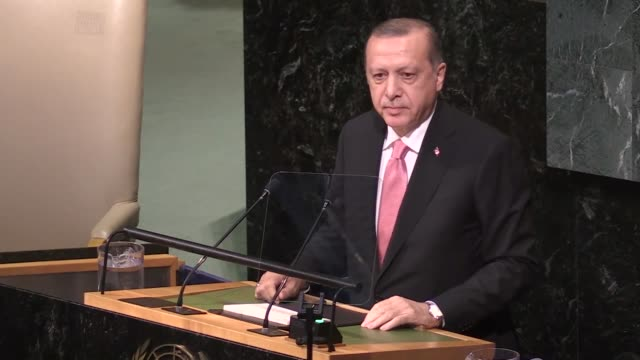 turkish president recep tayyip erdogan addresses the 72nd united nations general assembly at un headquarters in new york, usa on september 19, 2017. - united nations general assembly stock videos & royalty-free footage