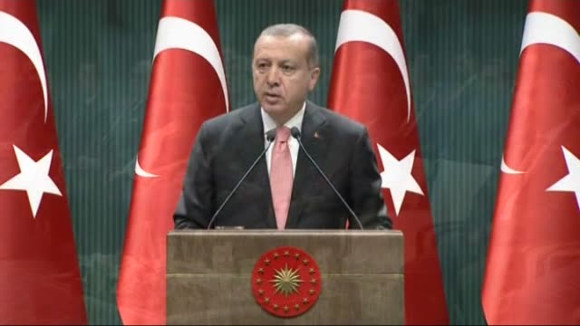 turkish president recep tayyip erdogan addresses to members of union of turkish bar associations at presidential complex in ankara on august 16 2016 - august stock videos & royalty-free footage