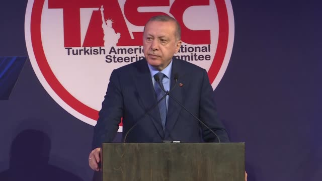 turkish president recep tayyip erdogan addresses turkish and muslim communities organized by turkish american national steering committee in new york... - campionato sportivo video stock e b–roll