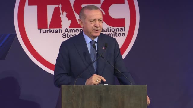 turkish president recep tayyip erdogan addresses turkish and muslim communities organized by turkish american national steering committee in new york... - national security agency usa stock videos and b-roll footage