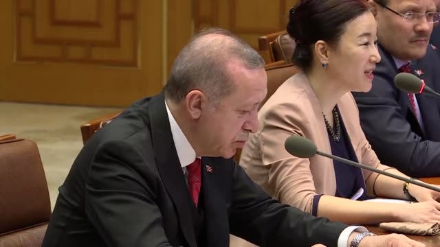 turkish president recep tayyip erdogan agreed wednesday to boost relations with south korea in numerous areas ranging from trade to defense after an... - press release stock videos and b-roll footage