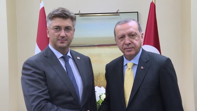 Turkish President Recep Tayyip Erdogan and Croatian Prime Minister Andrej Plenkovic hold a meeting on the sidelines of the 72nd United Nations...