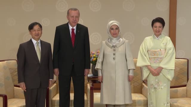 Turkish President Recep Tayyip Erdogan and First Lady Emine Erdogan meet with Japanese Emperor Naruhito and Empress Masako at Imperial Palace in...