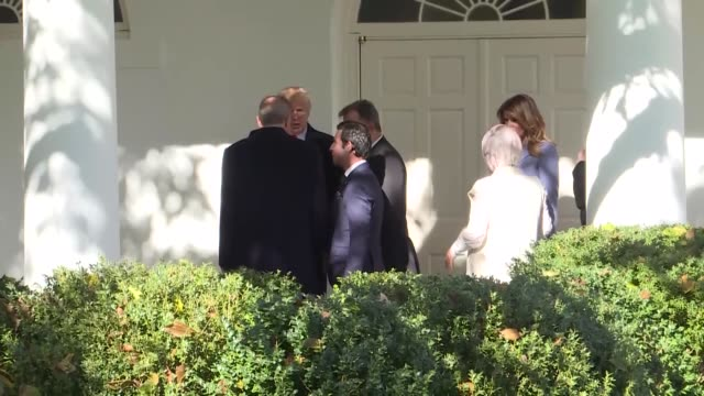turkish president recep tayyip erdogan and first lady emine erdogan meet with us president donald trump and first lady melania trump outside the... - weißes haus stock-videos und b-roll-filmmaterial