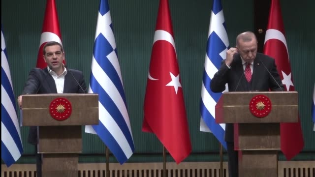 turkish president recep tayyip erdogan and greek prime minister alexis tsipras say they plan to resolve disputes between their two countries through... - diplomacy stock videos & royalty-free footage