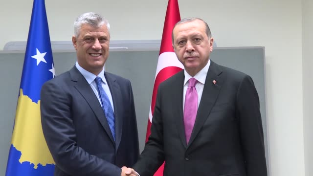 Turkish President Recep Tayyip Erdogan and his Kosovo counterpart Hashim Thaci hold a meeting on the sidelines of the 72nd United Nations General...