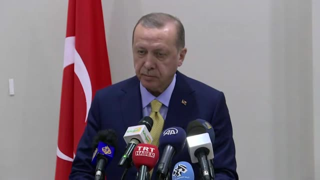 turkish president recep tayyip erdogan and his mauritanian counterpart mohamed ould abdel aziz hold a joint press conference at presidential palace... - ヌアクショット点の映像素材/bロール