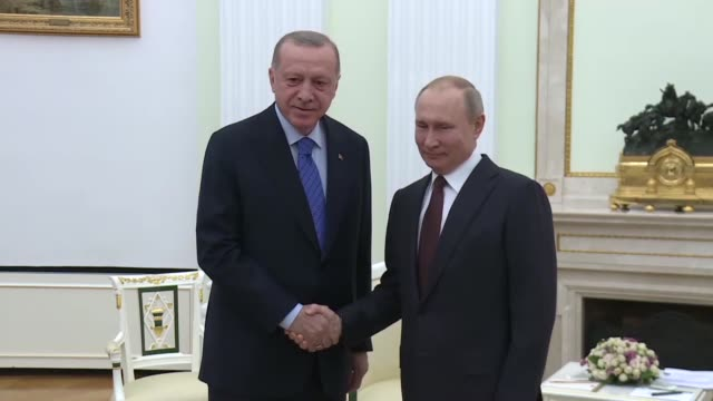 turkish president recep tayyip erdogan and his russian counterpart vladimir putin hold a meeting to discuss syrian crisis on march 05, 2020 in... - recep tayyip erdoğan stock videos & royalty-free footage