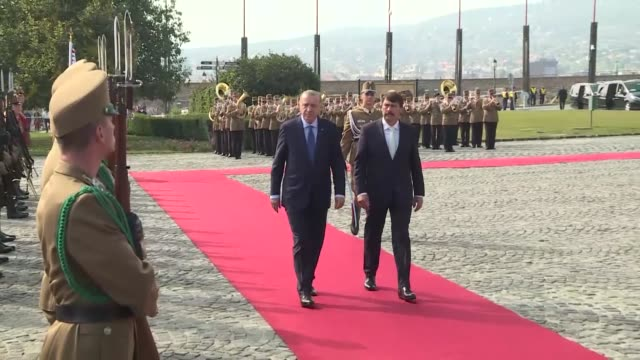 turkish president recep tayyip erdogan and his wife emine erdogan are welcomed by hungarian president janos ader and wife anita herczegh with an... - ハンガリー文化点の映像素材/bロール