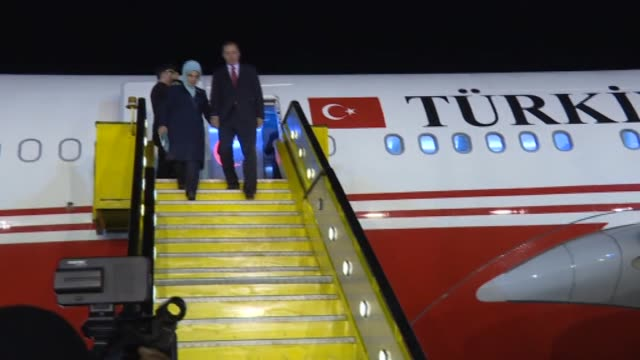turkish president recep tayyip erdogan and his wife emine erdogan are welcomed by ugandan foreign minister sam kutesa and lands, housing and urban... - kampala stock videos & royalty-free footage