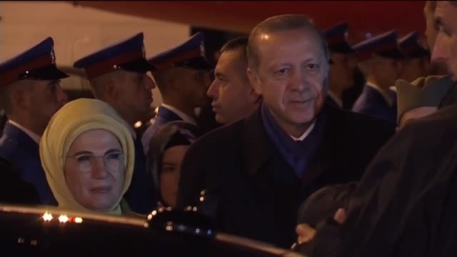 turkish president recep tayyip erdogan and his wife emine erdogan are welcomed by serbian president aleksandar vucic upon their arrival at belgrade... - ウクライナ点の映像素材/bロール