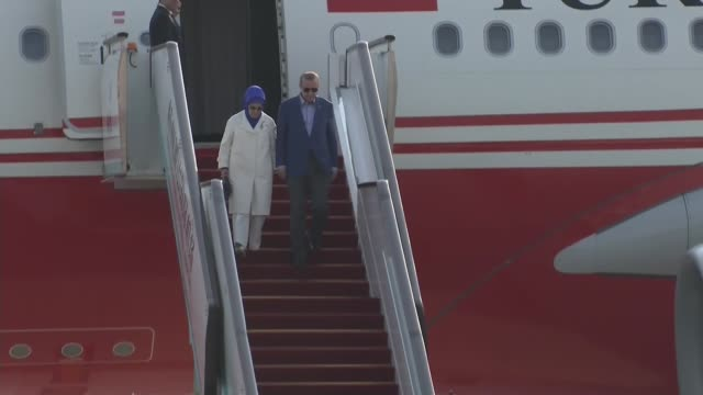 turkish president recep tayyip erdogan and his wife emine erdogan arrive in hangzhou china where he will attend the 11th g20 leaders summit on... - g20 leaders' summit stock videos & royalty-free footage
